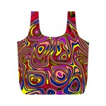 Abstract Shimmering Multicolor Swirly Full Print Recycle Bags (M)