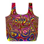 Abstract Shimmering Multicolor Swirly Full Print Recycle Bags (L)