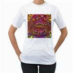 Abstract Shimmering Multicolor Swirly Women s T-Shirt (White)