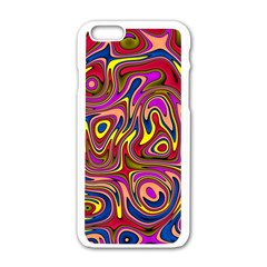 Abstract Shimmering Multicolor Swirly Apple Iphone 6/6s White Enamel Case by designworld65