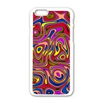 Abstract Shimmering Multicolor Swirly Apple iPhone 6/6S White Enamel Case
