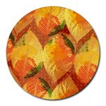 Fall Colors Leaves Pattern Round Mousepads