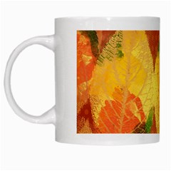 Fall Colors Leaves Pattern White Mugs by DanaeStudio