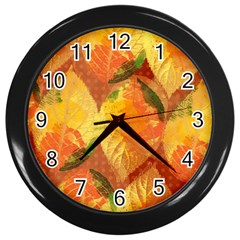 Fall Colors Leaves Pattern Wall Clocks (black) by DanaeStudio