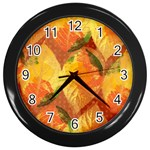 Fall Colors Leaves Pattern Wall Clocks (Black)