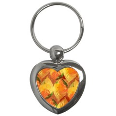 Fall Colors Leaves Pattern Key Chains (heart)  by DanaeStudio