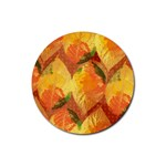 Fall Colors Leaves Pattern Rubber Coaster (Round)