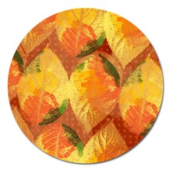 Fall Colors Leaves Pattern Magnet 5  (round) by DanaeStudio