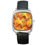 Fall Colors Leaves Pattern Square Metal Watch