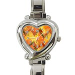 Fall Colors Leaves Pattern Heart Italian Charm Watch