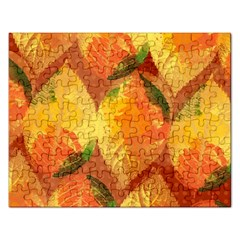 Fall Colors Leaves Pattern Rectangular Jigsaw Puzzl by DanaeStudio