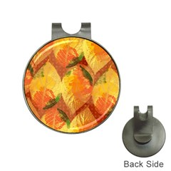 Fall Colors Leaves Pattern Hat Clips With Golf Markers by DanaeStudio