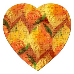 Fall Colors Leaves Pattern Jigsaw Puzzle (heart) by DanaeStudio