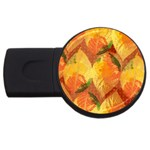 Fall Colors Leaves Pattern USB Flash Drive Round (4 GB)