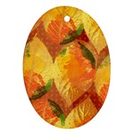 Fall Colors Leaves Pattern Oval Ornament (Two Sides)