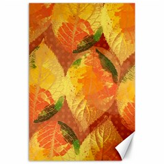 Fall Colors Leaves Pattern Canvas 24  X 36  by DanaeStudio