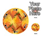 Fall Colors Leaves Pattern Playing Cards 54 (Round)