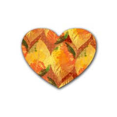 Fall Colors Leaves Pattern Rubber Coaster (heart)  by DanaeStudio