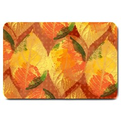 Fall Colors Leaves Pattern Large Doormat  by DanaeStudio