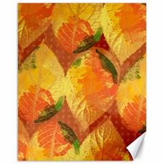 Fall Colors Leaves Pattern Canvas 11  X 14   by DanaeStudio