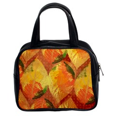 Fall Colors Leaves Pattern Classic Handbags (2 Sides) by DanaeStudio