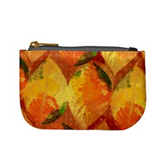 Fall Colors Leaves Pattern Mini Coin Purses by DanaeStudio