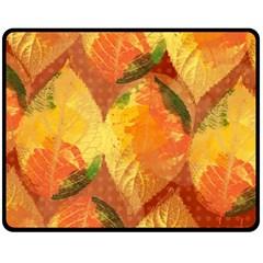 Fall Colors Leaves Pattern Fleece Blanket (medium)  by DanaeStudio