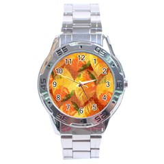 Fall Colors Leaves Pattern Stainless Steel Analogue Watch by DanaeStudio