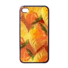 Fall Colors Leaves Pattern Apple Iphone 4 Case (black) by DanaeStudio