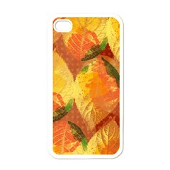 Fall Colors Leaves Pattern Apple Iphone 4 Case (white) by DanaeStudio