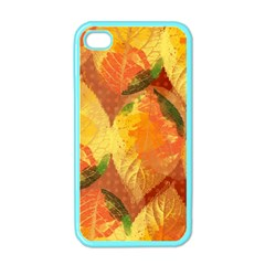 Fall Colors Leaves Pattern Apple Iphone 4 Case (color) by DanaeStudio