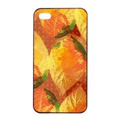 Fall Colors Leaves Pattern Apple Iphone 4/4s Seamless Case (black) by DanaeStudio
