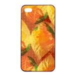Fall Colors Leaves Pattern Apple iPhone 4/4s Seamless Case (Black)