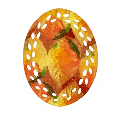 Fall Colors Leaves Pattern Oval Filigree Ornament (2 Side)  by DanaeStudio