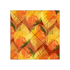 Fall Colors Leaves Pattern Acrylic Tangram Puzzle (4  X 4 ) by DanaeStudio