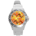 Fall Colors Leaves Pattern Round Plastic Sport Watch (L)