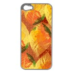 Fall Colors Leaves Pattern Apple iPhone 5 Case (Silver)