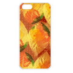 Fall Colors Leaves Pattern Apple Iphone 5 Seamless Case (white) by DanaeStudio