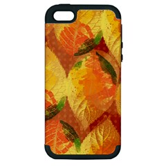 Fall Colors Leaves Pattern Apple Iphone 5 Hardshell Case (pc+silicone) by DanaeStudio