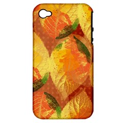 Fall Colors Leaves Pattern Apple Iphone 4/4s Hardshell Case (pc+silicone) by DanaeStudio