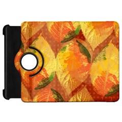 Fall Colors Leaves Pattern Kindle Fire Hd Flip 360 Case by DanaeStudio