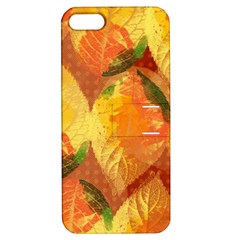 Fall Colors Leaves Pattern Apple Iphone 5 Hardshell Case With Stand by DanaeStudio