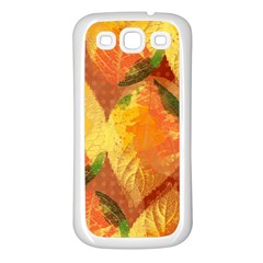 Fall Colors Leaves Pattern Samsung Galaxy S3 Back Case (white) by DanaeStudio
