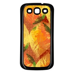 Fall Colors Leaves Pattern Samsung Galaxy S3 Back Case (black) by DanaeStudio