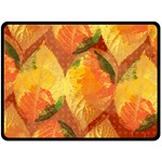 Fall Colors Leaves Pattern Double Sided Fleece Blanket (Large)