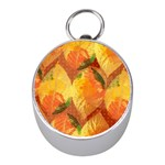 Fall Colors Leaves Pattern Mini Silver Compasses