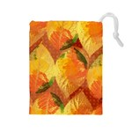 Fall Colors Leaves Pattern Drawstring Pouches (Large)