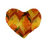 Fall Colors Leaves Pattern Standard 16  Premium Flano Heart Shape Cushions
