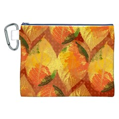 Fall Colors Leaves Pattern Canvas Cosmetic Bag (xxl) by DanaeStudio