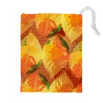 Fall Colors Leaves Pattern Drawstring Pouches (Extra Large)